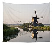 Wind Mill On A Canal, Holland Tapestry