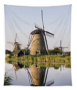 Wind Mills Next To Canal, Holland Tapestry
