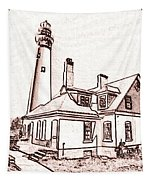 Wind Point Lighthouse Drawing Mode 1 Tapestry