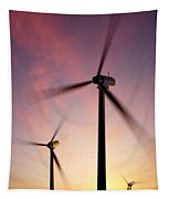 Wind Turbine Blades Spinning At Sunset Tapestry