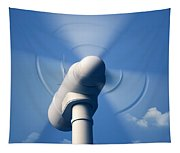 Wind Turbine Rotating Close-up Tapestry