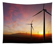 Wind Turbines At Sunset Tapestry