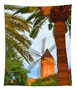 Windmill In Palma De Mallorca Tapestry