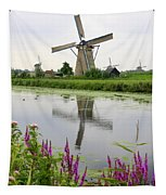 Windmills Of Kinderdijk With Flowers Tapestry