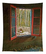 Window With View Abandoned Elkmont Log Cabin Autumn Tapestry