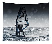 Windsurfing With Water Drops On Camera Tapestry