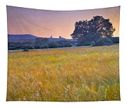 Windy Sunset At The Medieval Castle Tapestry