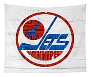 Winnipeg Jets Retro Hockey Team Logo Recycled Manitoba Canada License Plate Art Tapestry