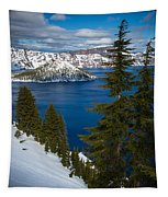 Winter At Crater Lake Tapestry