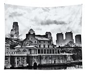 Winter At The Fairmount Waterworks In Black And White Tapestry