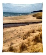 Winter Beach At Pier Cove Ll Tapestry