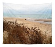Winter Beach At Pier Cove Tapestry