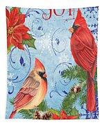 Winter Blue Cardinals-joy Card Tapestry