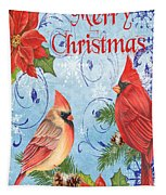 Winter Blue Cardinals-merry Christmas Card Tapestry