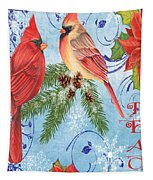 Winter Blue Cardinals-peace Card Tapestry