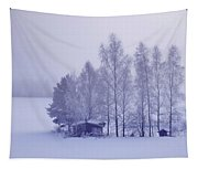 Winter Cabin In The Woods Tapestry
