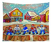 Winter Fun At Hockey Rink Magical Montreal Memories Rink Hockey Our National Pastime Falling Snow   Tapestry