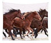 Winter Hardened Wild Horses Tapestry