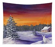 Winter Hare Visit Tapestry