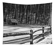 Winter Hut In Black And White Tapestry