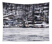 Winter Ice Lake Scene Hopatcong Covered Port Tapestry