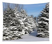 Winter In The Pines Tapestry
