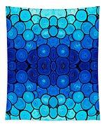 Winter Lights - Blue Mosaic Art By Sharon Cummings Tapestry