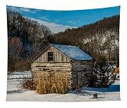 Winter Logcabin Tapestry
