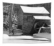 Winter Mill In Black And White Tapestry
