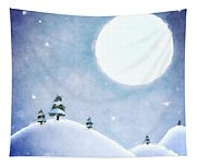 Winter Moon Over Snowy Landscape Tapestry