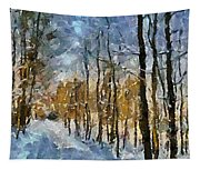 Winter Morning In The Forest Tapestry