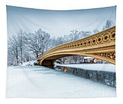 Winter Morning With Bow Bridge Tapestry