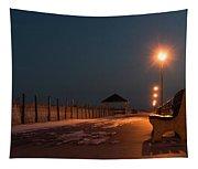 Winter Night Boardwalk Bench Seaside Nj  Tapestry
