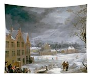 Winter Scene With A Man Killing A Pig Tapestry