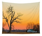 Winter Season Country Sunset Tapestry