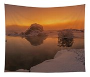 Winter Sunset And Fog Over Lake Myvatn Tapestry