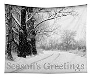 Winter White Season's Greeting Card Tapestry
