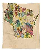 Wisconsin Map Vintage Watercolor Tapestry
