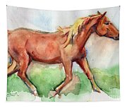 Horse Painted In Watercolor Wisdom Tapestry