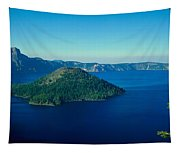 Wizard Island In Crater Lake, Oregon Tapestry