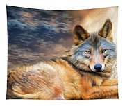 Wolf In Moonlight Tapestry