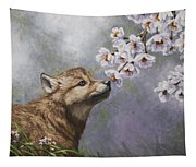 Wolf Pup - Baby Blossoms Tapestry