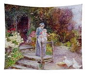 Woman And Child In A Cottage Garden Tapestry