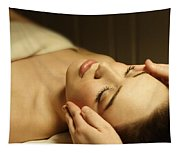 Woman Having A Facial Massage Tapestry