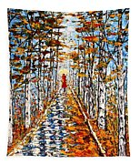Woman In Red In Fall Rainy Day Tapestry
