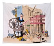 Woman Spinning Wool Onto A Rotating Tapestry