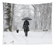 Woman Walking In A Snowy Forest Tapestry