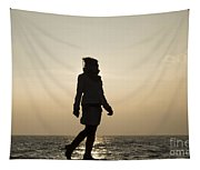 Woman Walking On The Lake Front Tapestry