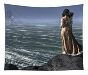 Woman Watching A Ship Sailing Away Tapestry