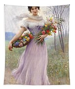 Woman With Flowers Tapestry